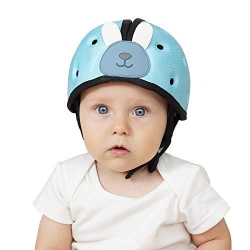 Orzbow Caschetto Primi Passi per Bambini,Casco Protezione Testa Bambino,Cappellino Gattonare Paracolpi Neonato,Regolabile di Sicurezza Protettivo Casco (Blu)