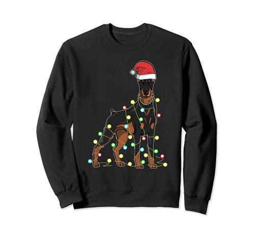 Luces de Navidad Doberman amante de los perros divertido regalo de Navidad Sudadera