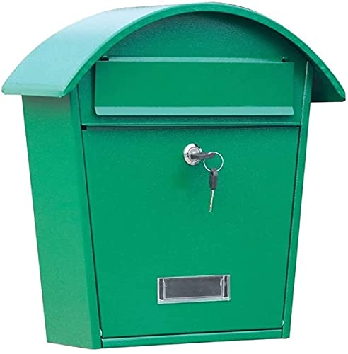 LSYFCL Mailbox Large Capacity Decorative Package MailboxLockable Outdoor Mailbox Wall Mount Mailbox with Cover Green Galvanized SteelExtra-Large Steel Post-Mount Mailbox