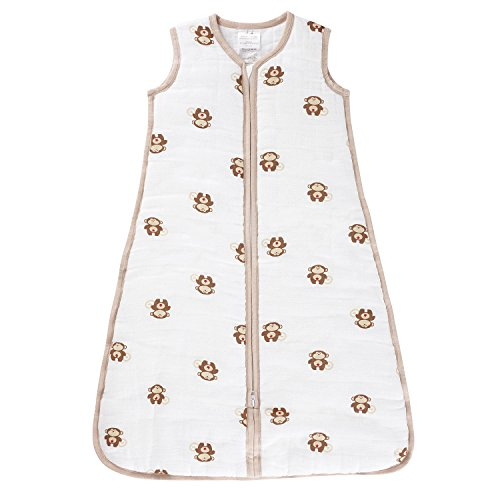 aden by aden + anais gigoteuse cozy plus, mousseline 100% coton et molletonnage 100% polyester, 2.5 TOG, safari friends, medium