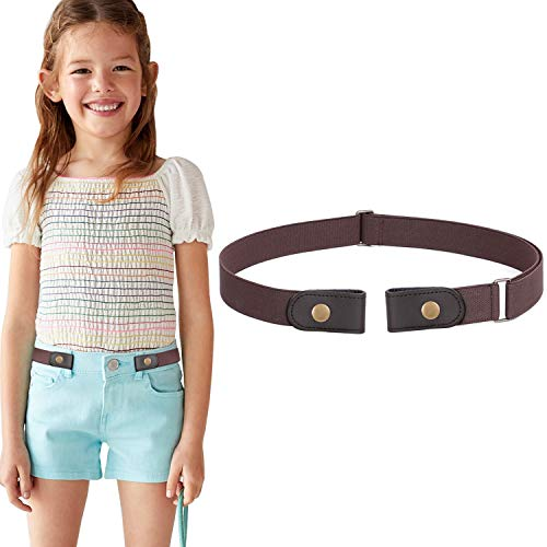 No Buckle Stretch Belt for Child Boys Girls Buckle Free Kids Belt Buckleless for Pants Jeans, Coffee,Waist Size Below 24 Inches