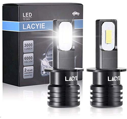 Bombilla H3 LED Coche, Lacyie 60W 3000 LM Xenon Blanco 6000K 12V Faros Delanteros Bombillas para Moto,IP68 Impermeable Faros Reemplazo de Halógena y Kit Xenón Garantía de 2 años