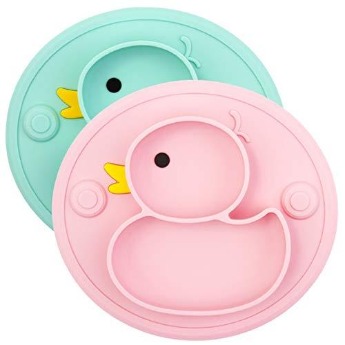 PPuujia Plato de bebé Platos de pato de silicona Bandeja de succión antideslizante Mini Mat Mantel individual infantil Alimentación de alimentos para niños (color: gris)