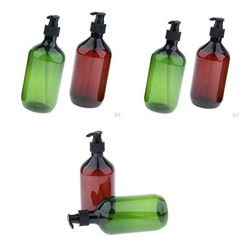 joyMerit Envase de Líquido del ú de La Loción del Agua de La Botella Plástica de La Bomba 6 para El Viaje 500ml