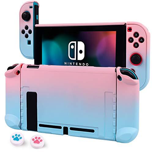 CHIN FAI Dockable Case für Nintendo Switch Hard Shell Schutzhülle für Nintendo Switch Console und Joy-Con Controller mit 2 Stäben (Blau-Rosa)