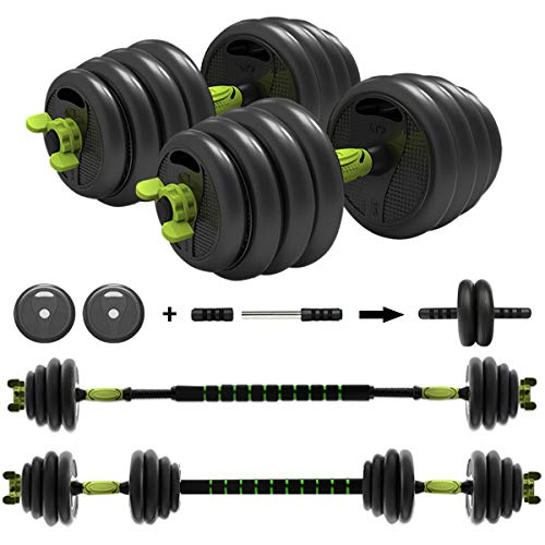 ER KANG 3 in 1 Adjustable Dumbbell Set, 88lbs Free Weights Fitness Dumbbells with Connecting Rod Used As Barbell, Ab Roller Wheel for Home Gym, Workout, Whole Body Training, 2 Pieces, (1 Pair/Set)