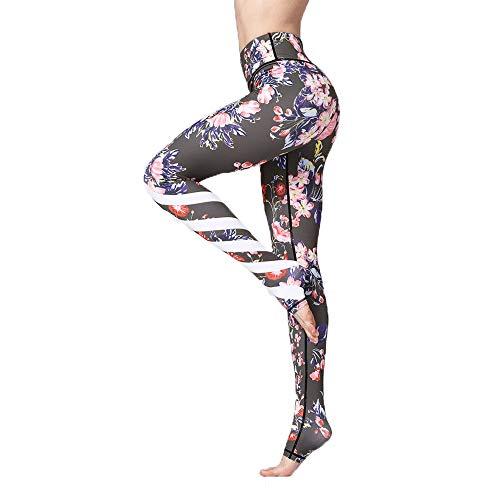 3D Printing Lange Damen-Yoga-Eignung-Hosen, Tulpe Elefant Mit Hohen Taille Gamaschen, Milch Silk Weiche Stretch-Hose Jogginghose,Tulip,XL