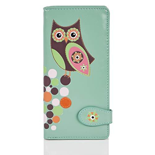 Shagwear - Monederos para Mujeres jóvenes diseños: (Retro del búho Aguamarina/Retro Owl Aqua)