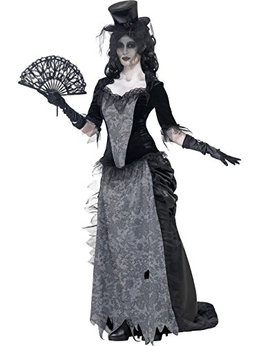 Smiffys-24575L Disfraz de Viuda Negra de Ghost Town, con Parte de Arriba, Falda y sombrer, Color Gris, L-EU Tamaño 44-46 (Smiffy'S 24575L)