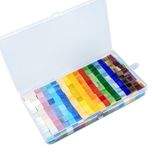 Resinta 280 g Mixed Color Mosaic Tiles Mosaic Glass Pieces with Organizing Container for Home Decoration or DIY Crafts (1 by 1 cm)