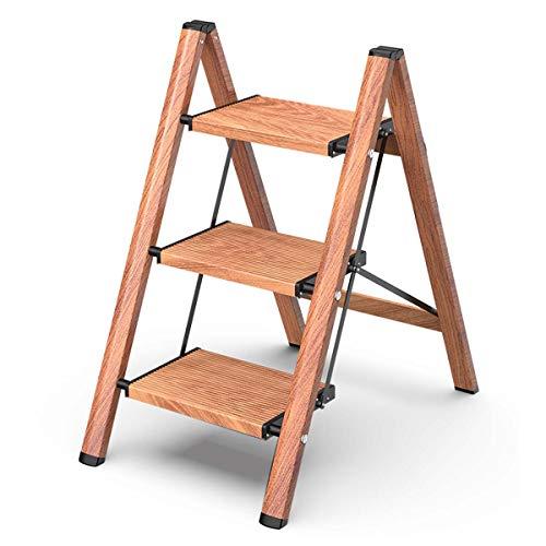 Escalerilla, Escalera Plegable Robusto 4 peldaños hasta 150 kg, Escalera de Aluminio Plegable, Peldaños en Forma de A, de Doble Cara, Pies Antideslizantes,3 Steps