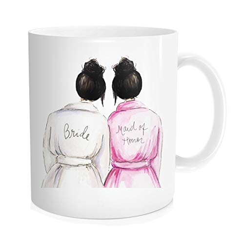 Wedding for Maid Of Honor from Bride, Best Friend Bestie Sister s, Bride Bridal Party Shower, Engagement Coffee Mug, 11 oz, Fine Bone Ceramic, White