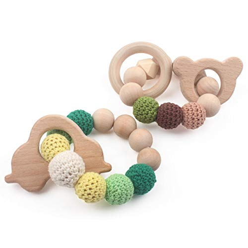 Wooden Teether Wood Teething Bracelet 2 PCS Car and Bear Safe and Natural for Baby Bite Toys Eco-Friendly Soother Jewelry