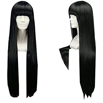 TopWigy Girl s Replacement Wig Natural Black Long Straight Costume Daily Hair Wigs with Bangs Cher Wig Black 32
