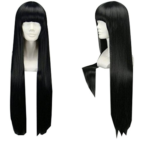 TopWigy Girl's Replacement Wig Natural Black Long Straight Costume Daily Hair Wigs with Bangs Cher Wig(Black 32