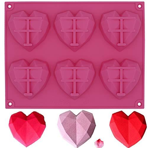 Fyuan Silikonformen 3D Mousse DIY Form für Kuchen Dekoration Gelee Pudding Süßigkeiten Schokolade 8 Löcher Herz mit 4 Schlüsseln weiß 5er-Set, Silikon, rose, pink heart mould
