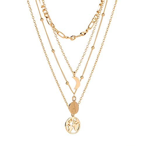 #N/A Collar multicapa simple Boho colgante collar vintage letra mapa clavcula cadena creativo joyera exquisita gargantilla collar KC oro