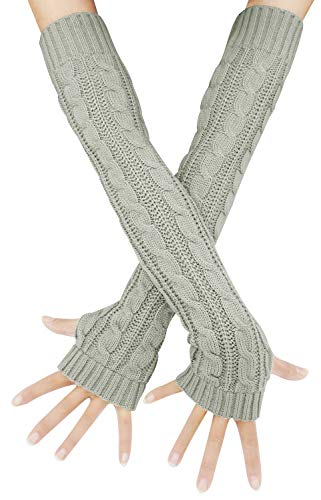 Womens Lady's Winter Knit Fingerless Arm Warmers Gloves, One Size Grey