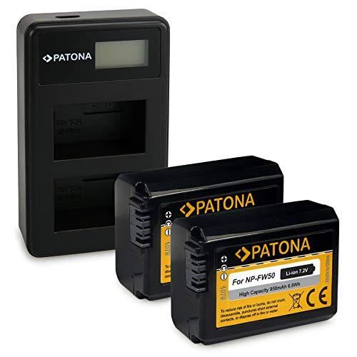 PATONA Cargador Doble LCD USB con 2X NP-FW50 Batería Compatible con Sony NEX-3, NEX-5, NEX-6, NEX-7, DSC-RX10, Alpha 7, A35, A55