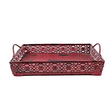 Attraction Design Metal Artisanal Square Tray, Burgundy