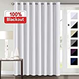 100% Blackout Curtains for Living Room Extra Wide Blackout Curtains for Patio Doors Double Layer Lined Drapes for Double Window Thermal Insulated Curtains/Draperis - White, 100' x 84'