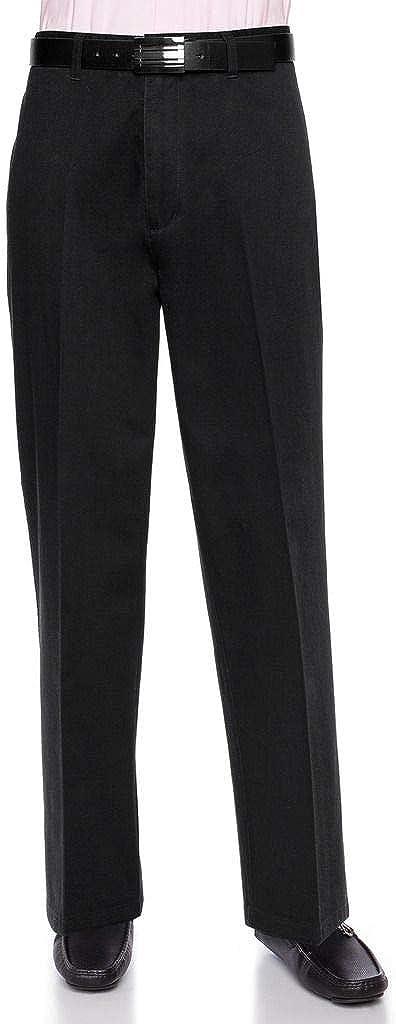 AKA Men's Wrinkle Free Cotton Twill - Traditional Fit Slacks Chino Straight-Legs Casual Pants