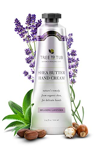 Lavender Hand Cream by Tree to Tub - Natural Hand Cream for Sensitive Skin. Hydrating Hand Lotion for Dry Cracked Hands with Fresh Organic Aloe Vera, Vitamin B5, Organic Cocoa Butter and Rose Water