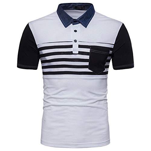 Willlly Polo Shirt mannen Zomer Gestreepte Chic Sleeve Casual Korte Polo Shirt Basic Kleur Blok Casual Dagelijks Uitgaan Mode Sport Polo Shirts met Borst Pocket Tops