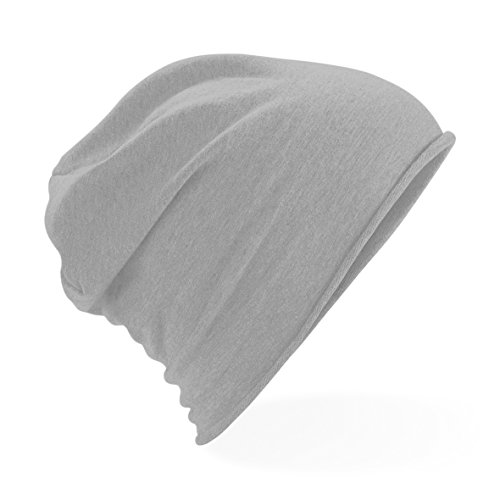 Beechfield Unisex Plain Jersey Beanie Hat (One Size) (Heather Gray)