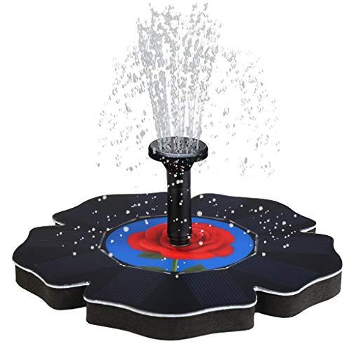 TIREOW 5V Rosenform Automatische Solarbrunnenpumpe Springbrunnen, Vogelbadbrunnen Wasser schwimmende Pumpe mit 4 Düsensprayeinstellungen für Teichgarten Patio Dekor