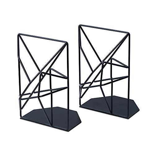 HaavPoois Boekensteunset 2-delig Metalen Holle Geometrie Ontwerp Decoratieve Boekensteun Voor Planken Antiroest En Krassen Voor Kantoor En School Zwart