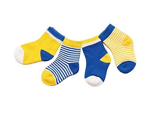 DEBAIJIA 4 Paare Babysocken Baumwolle 0-6 Monate Mädchen Junge Lieblich Socken Dünn Weich Bunt - Gelb/Blau