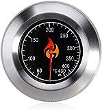 Grillrost.com Termometro per barbecue in acciaio inox di alta qualità, con coperchio, universale per un facile fissaggio a qualsiasi griglia