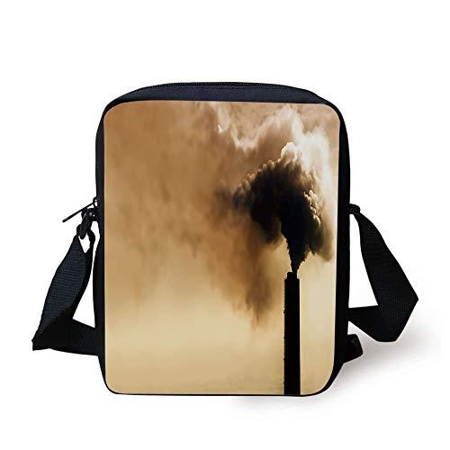 Industrial Decor,Heavy Smoke Industrial Chimney Pollution Contamination Environment Decorative,Light Brown Black Print Kids Crossbody Messenger Bag Purse