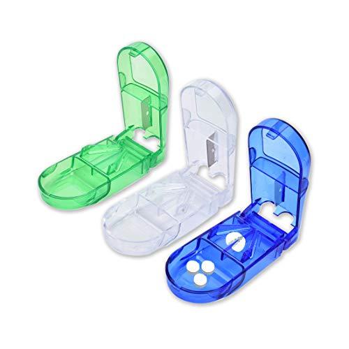 Tablettenteiler, Tablettenteiler für tabletten, Pillenschneider, Tablettenschneider mit Aufbewahrung, für große und kleine Tabletten, Sehr praktisch für kinder und ältere Menschen