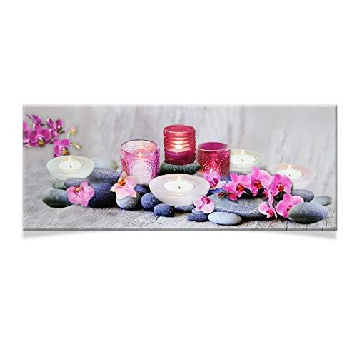 DRULINE LED Leinwand Bild Fotografie Landschaft Beleuchtet Batteriebetrieben Indoor Wand (Lila Blumen)