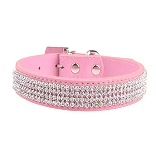 Collar para perro, collar de perro con diamantes de imitación de piel sintética, correa para el cuello, collar de perro - rosa L