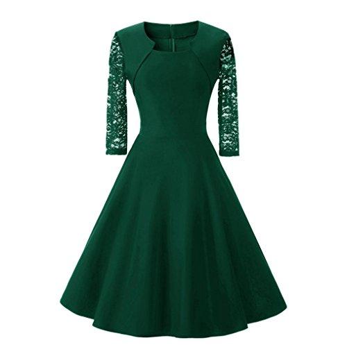 • • Luckycat Räumungsverkauf Damen Kleid mit Spitzenstickerei Vintage Spitze O Neck DREI Viertel Sleeve Hochzeit Cocktail Party Kleid Swing Kleid Partykleid Cocktailkleid (Grün, EU 40-XL)