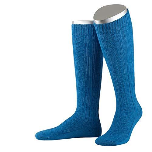JD Lange Damen Trachtensocken Trachtenstrümpfe Zopf Socken, 36-38, Mittelblau