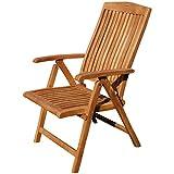 ASS Teak Design Hochlehner Gartensessel Gartenstuhl Sessel Holzsessel Klappsessel Gartenmöbel Holz sehr robust 7fach-verstellbar Modell: JAV-Tobago
