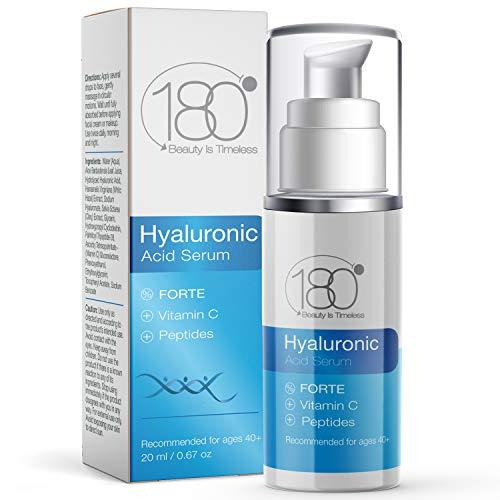 180 Cosmetics Hyaluronserum Forte & Vitamin C - Keine Spritzen nötig - Hochkonzentriertes Gesichtsserum mit Hyaluronsäure, Vitamin C & E – Füllt feine Linien und Falten – Anti Aging Serum 15ml