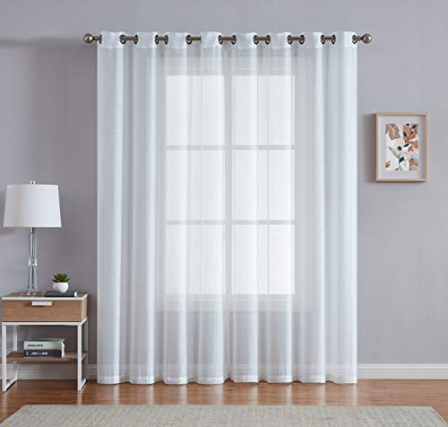 "DecoSource Best Grommet Window Sheer Curtains - Total Size 108 Inch Wide (54 Inch Each Panel) - 63 Inch Long - 2 Panels for Bedroom, Living Room, Kitchen Outdoors (54"" W x 63"" L, Ivory - Off White)"