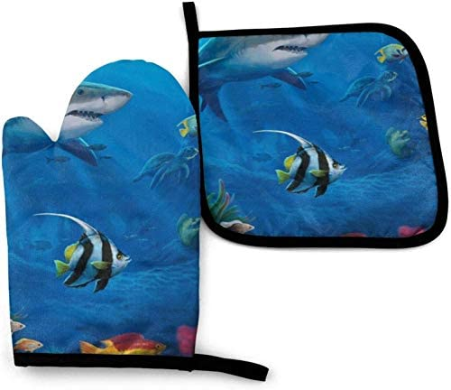Underwater World Oven Mitts and Pot Holders Potholders for Kitchens BBQ Silicone Cooking Gloves product image