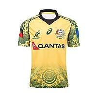 17-18 Australia Wallabies World Cup Replica Rugby Jersey Men's Summer Football Short Sleeve Casual T-Shirt Clothing Football Wear Sportswear,S by