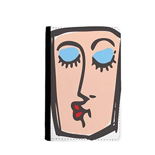 beatChong Besar Abstracta Emoticonos Bosquejo De La Cara Tarjeta Monedero Caso De La Cubierta Cartera De Viaje De Pasaporte