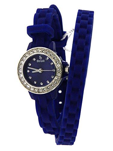 Stroili Watch Orologio Solo Tempo Blu con cassa in Acciaio e Cinturino in Silicone Doppio Giro Referenza B0584-8