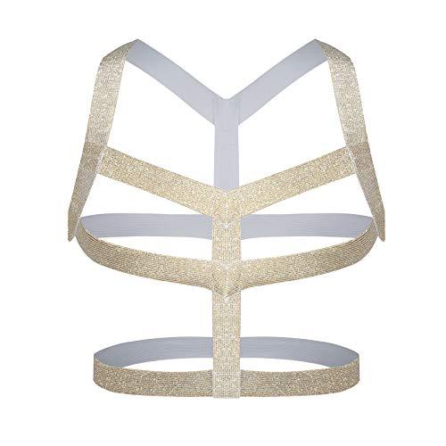 Man Harness Belt Body Chest Elastic Halter Nylon Shoulder Strap Club Wear Costume, (Gold-A)