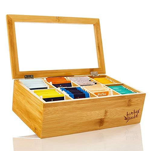 bambuswald© ökologische Teebox mit 8 Fächern aus natürlichen Bambus - 100% nachhaltige Teekiste | Teebeutelbox mit Sichtfenster & aufklappbar für Aromaschutz - dekorativ edel praktisch
