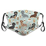 OMOXILOUY Dust Masks Full Face Mask Dachshund Coffee Latte Dachsie Doxie Dog Breed Cute Pattern for Weener Dog Lover Balaclavas Mouth Shield with 3 Replaceable Filters