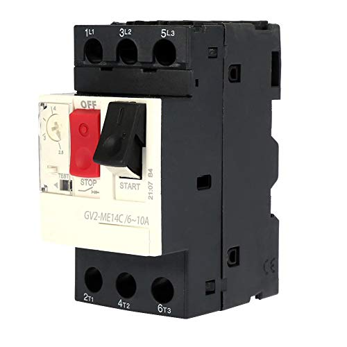 GV2-ME01C/ME02C/ME03C/ME04C/ME05C/ME06C/ME07C/ME08C/ME10C/ME14C/ ME16C/ME20C/ME21C/ME22C/ME32C/ME32C Interruptor de protección del motor Disyuntor del motor negro((GV2-ME14C 6~10A))